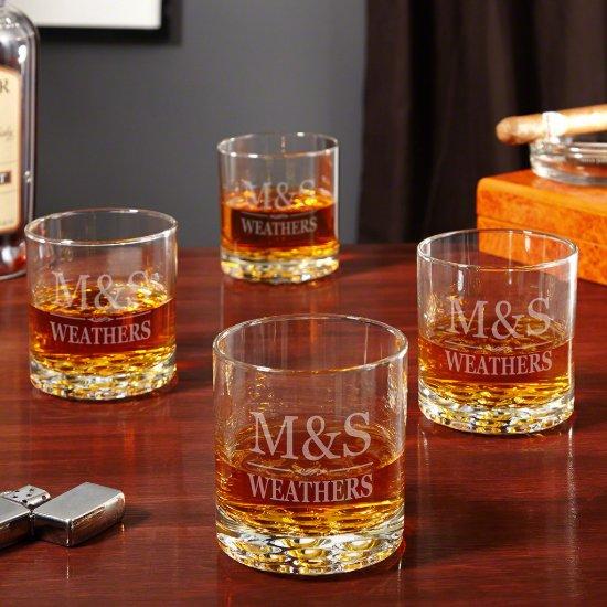 Set of 4 Brighton Monogram Whiskey Glasses