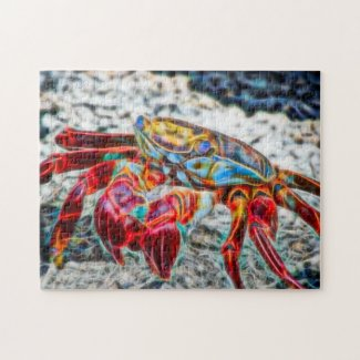 Crab on the Sand Sea Life Red Fire Fractal Puzzle
