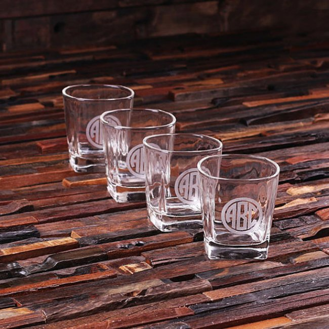 Set of 4 Engraved Circle Monogram Whiskey Glasses