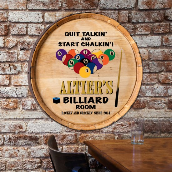Personalized Oak Barrel Top Billiards Sign