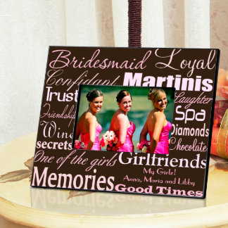 Pink on Brown Personalized Bridesmaid Frame Picture Frame