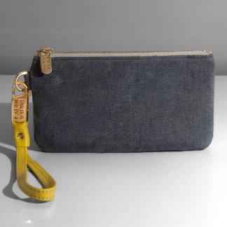 Alto Wristlet in Blue Jean Leather w/Yellow Strap