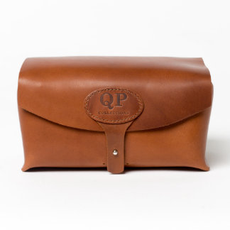 Light Leather Toiletry Kit with Monogrammed Handle