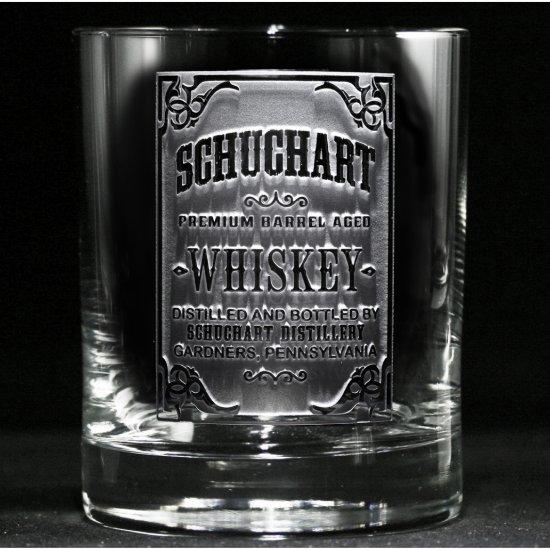 Whiskey Label Engraved Bar Glass
