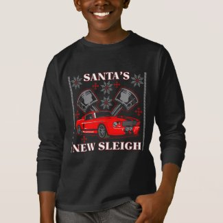 Muscle Car Santa's New Sleigh Ugly Holiday Sweater Tee Shirts