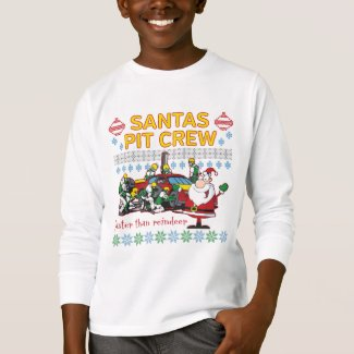 Santa Pit Crew Race Car Ugly Christmas Sweater T Shirt