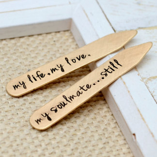 """Soulmate"" Bronze Handstamped Collar Stays"