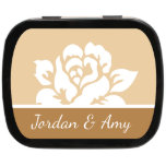 """Elegant Rose Personalized Wedding Mint Tins<br><div class=""""desc"""">Personalized Wedding Mint Tins.   Our Mint Tins are a gift that your guests can enjoy and save! Because it's not just a mint...  It's a memory! Palm size (2.25"""" x 1.75"""" x 0.5"""") is available in black,  white,  pink and blue.</div>"""
