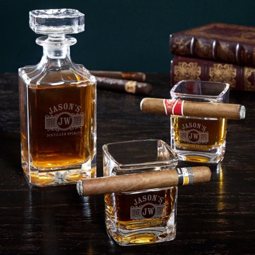 Engraved Decanter w Set of Cigar Whiskey Glasses