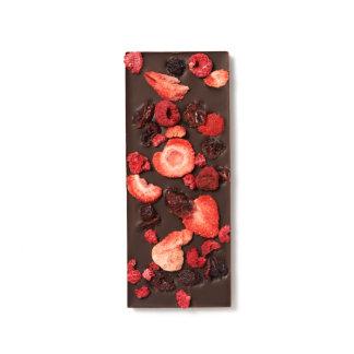 Fresa, arándano y frambuesas secados barras de chocolate negro