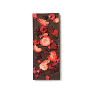 Dried Strawberry, Cranberry and Raspberries Dark Chocolate Bar