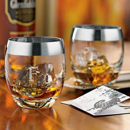 Set of 2 Elegant Silver Rim Whiskey Glasses