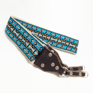 Teal Jacquard Handmade Camera Strap w/Leather Ends