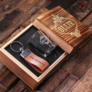 Personalized Engraved Shot Glass & Key Chain Set