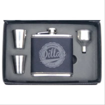 Engraved Faux Leather Shot Glasses and 6 oz. Flask