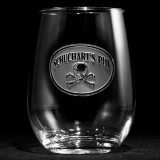 Skull and Bones Personalized Stemless Wine Glass