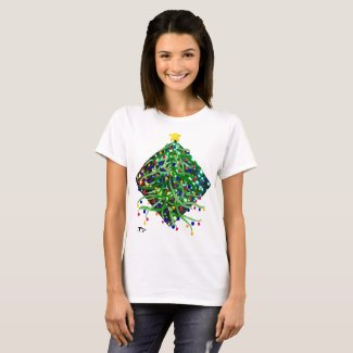 Holiday Tshirt Christmas Tree Lights Festive Party
