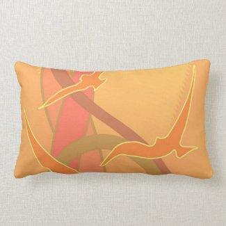 Abstract Sunset with Birds Lumbar Pillow