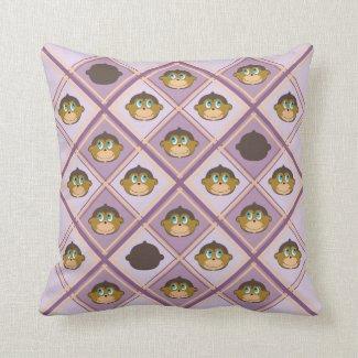 Smiling monkeys plaid pattern girly pink throw pillow
