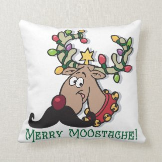 Merry Mustache Throw Pillow