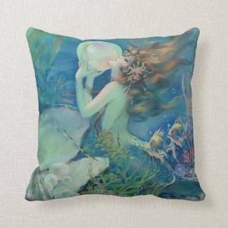 The Mermaid by Henry Clive Throw Pillow