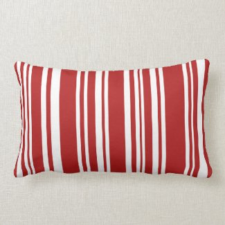 Modern Red and White Stripes Throw Pillow