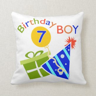 7th Birthday - Birthday Boy Throw Pillow