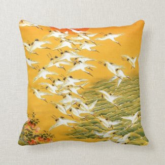 Vintage Japanese Cranes at Sunset Throw Pillow