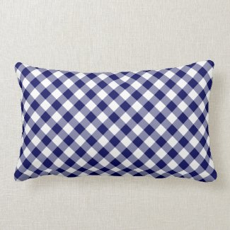 Navy and White Diagonal Checked Plaid Lumbar Pillow