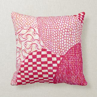 Red Orange Zen Doodle Drawing Pillow
