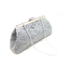 Platinum Grey and Ivory Paisley Bridesmaid Clutch