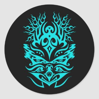 Tribal head cyan classic round sticker