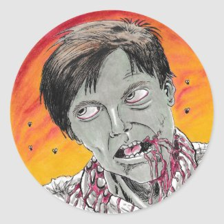 Dawn Of The Dead Flyboy Zombie Classic Round Sticker