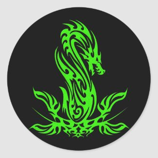 Dragon 19 green oil classic round sticker