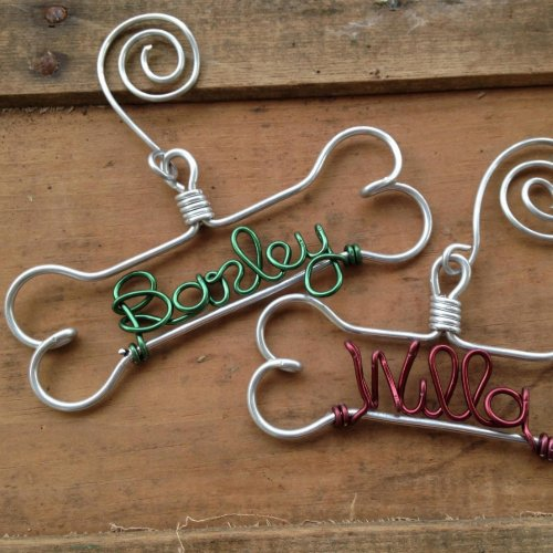 Colorful Holiday Wire Dog Bone Christmas Ornament