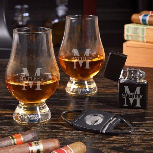 Cool Etched Cigar Set w/ Glencairn Whiskey Glasses