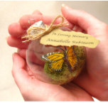 """Butterfly Filled Glass Memorial Christmas Ornament<br><div class=""""desc"""">An monarch butterfly resides within it's glass world with a bit of green moss - seemingly impossible to fit through the opening like a ship in a bottle. An inspiring natural addition to your Christmas tree. A beautiful memorial, comes with its own box, ready to gift to loved ones. Can...</div>"""