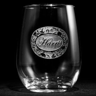 Copa de vino sin pie personalizada damasco