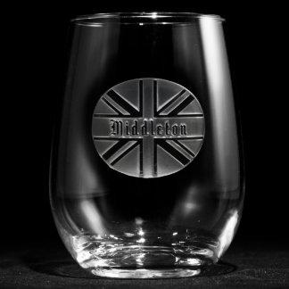 Union Jack Personalized Stemless Wine Glass