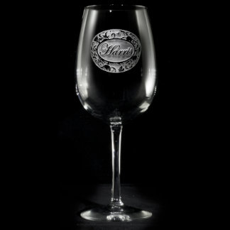 Ornate Damask Personalized Wine Glass