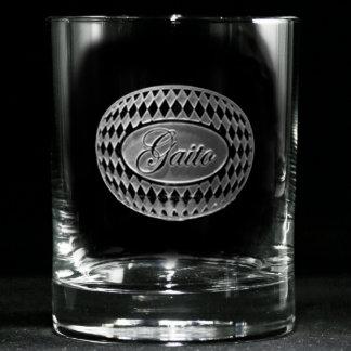 Diamond Border Personalized Whiskey Glass