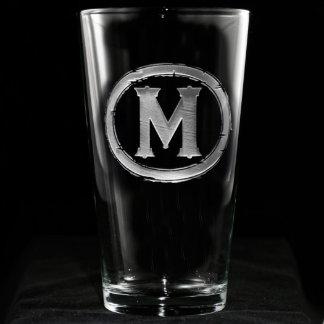 Modern Monogrammed Pint Glass