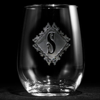 Decorative Diamond Monogrammed Stemless Wine Glass