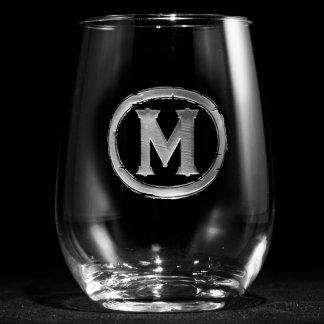 Copa de vino sin pie con monograma moderna
