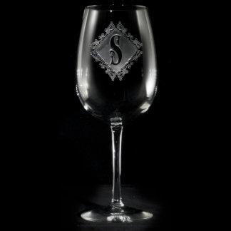 Decorative Diamond Monogrammed Wine Glass