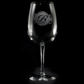 Elegant Script Monogrammed Wine Glass