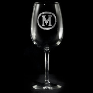 Modern Monogrammed Wine Glass