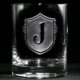 Vidrios cones monograma del whisky del escudo de