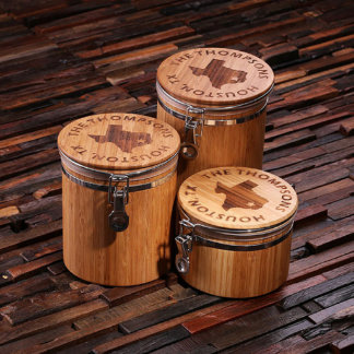 Personalized Food Safe Bamboo Canisters 3 pc Set