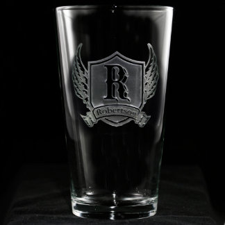 Winged Shield Personalized Pint Glass